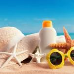 sunblock, hat, sunglasses, beach