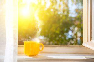 coffee mug in a window